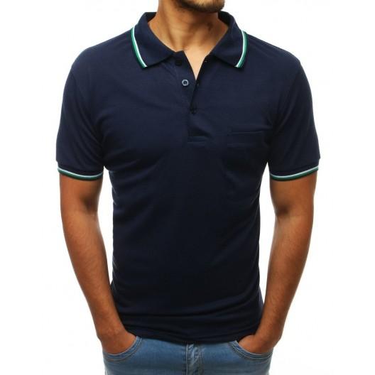 Štýlové pánske tmavo modré polo tričko s ozdobným lemom