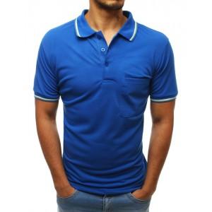 Azúrovo modré pánske tričko s golierom a vreckom v prednej časti