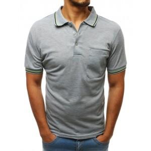 Pánske svetlo sivé polo tričko s ozdobným lemom v kontrastenj farbe