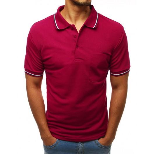 Originálne pánske bordové tričko so zapínaním na gombíky a golierom