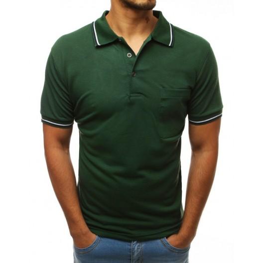 Štýlové pánske polo tričko v zelenej farbe s farebným lemom