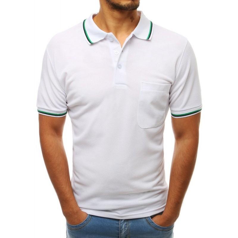 fd3e3e9036b13 Pohodlné pánske biele polo tričko so zapínaním na gombíky a s vreckom
