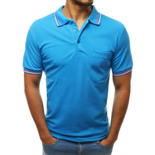 Tyrkysovo modré pánske tričko s golierom a farebným ozdobným lemom