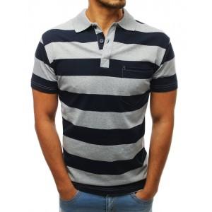 Trendy pánske sivo modré pásikované polo tričko s vreckom