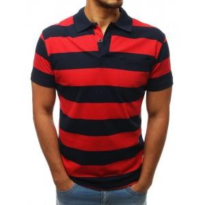 Štýlové červeno modré pásikované tričko s krátkym rukávom a golierom