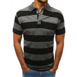 Čierno sivé pánske polo tričko so zapínaním na gombíky a vreckom