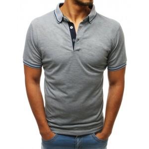 Moderné pánske tričko s golierom v svetlo sivej farbe