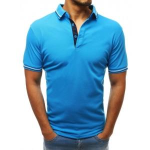 Pohodlné pánske modré tričko s krátkym rukávom a ozdobným lemom