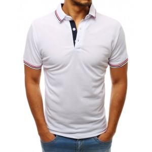 Biele pánske tričko s ozdobným lemom na golieri a rukávoch