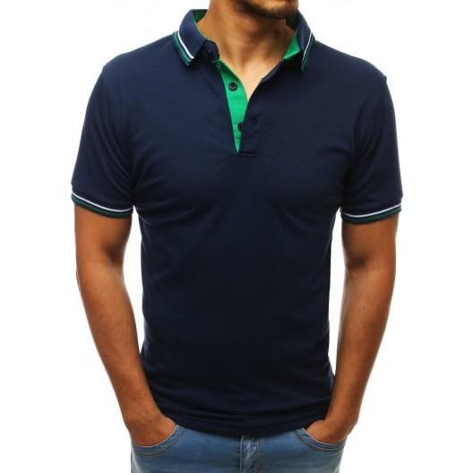 Tmavo modré pánske polo tričko s krátkym rukávom