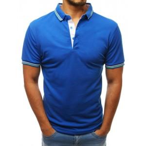 Pánske tričko v modrej farbe s golierom a na gombíky