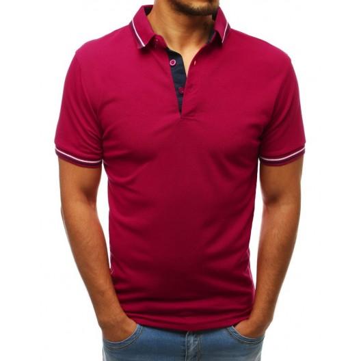 Originálne pánske tričko na leto s golierom v trendy bordovej farbe