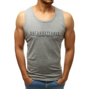 Štýlové pánske tričko v sivej farbe s nápisom a bez rukávov