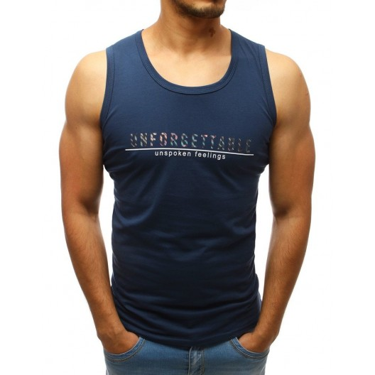 Štýlové tmavo modré pánske tričko s krátkym rukávom  a nápisom