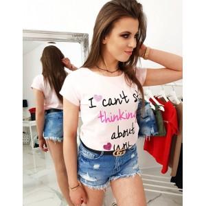 Púdrovo ružové dámske tričko na leto s romantickým odkazom
