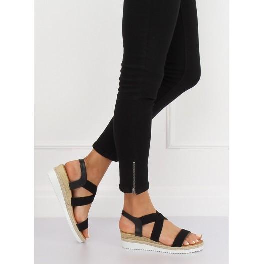 Pohodlné dámske čierne sandále na platforme s pletencom v leme