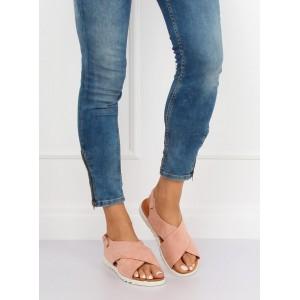 25d060b0b990 Púdrovo ružové dámske semišové sandále s viazaním okolo nohy