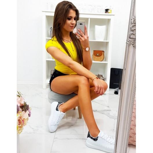 Trendy dámske letné neónovo žlté slim tričko