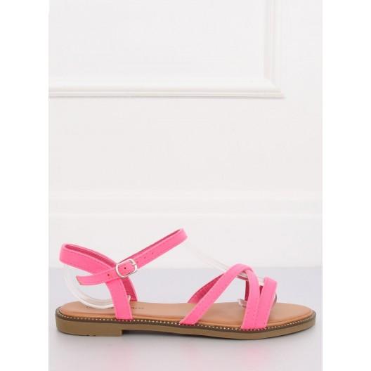 Neónovo ružové dámske letné remienkové sandále