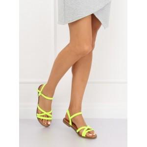 Moderné neónovo žlté remienkové dámske sandále na nízkej podrážke