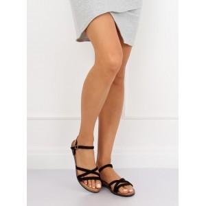 Dámske čierne remienkové sandále na nízkej podrážke