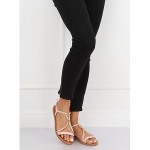 Púdrovo ružové dámske semišové sandále so zlatou ozdobou