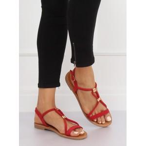 Štýlové dámske červené nízke sandále so zapínaním okolo členka