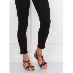 Moderné tmavo modré dámske letné sandále so zlatou ozdobou