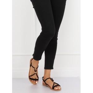 Dámske čierne sandále s jemnými prúžkami a zlatými ozdobami