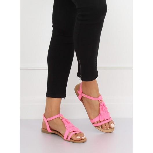 Trendy neónovo ružové dámske sandále s ozdobnými strapcami