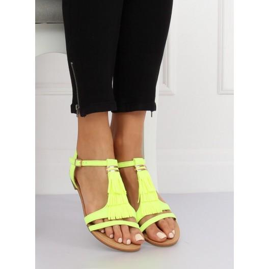 Moderné neónovo žlté sandále so strapcami a zlatou ozdobou