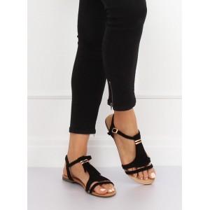 b995418fa74c Pohodlné dámske čierne sandále nízke s designovými strapcami Nové