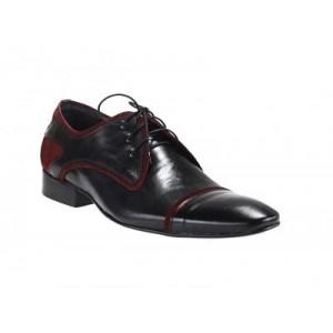 Pánska obuv čierno-červenej farby z kvalitnej kože