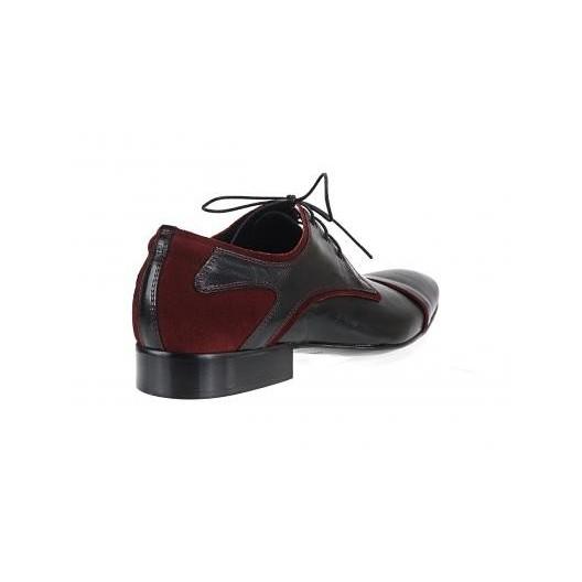 Pánska obuv čierno-červenej farby z kvalitnej kože so semišom vhodné na rôzne spoločenské udalosti