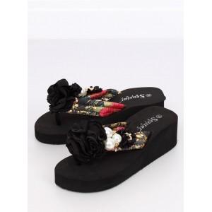 7c180b58c6cfa Dámske žabky čiernej farby s kvetom na každý deň| Fashionday.eu