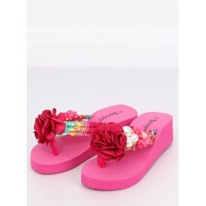 2a3785a49145b Krásne neónovo ružové dámske šľapky na platforme s kvetom a perlami