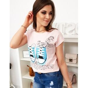 Svetlo ružové dámske tričko s originálnou potlačou tenisiek