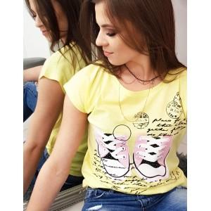 Dámske tričko žlté s krátkym rukávom s  trendy polačou tenisiek