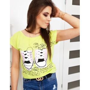 Moderné neónovo limetkovo žlté dámske tričko s potlačou