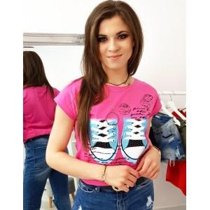 Trendy dámske neónovo ružové tričko s krátkym rukávom a potlačou