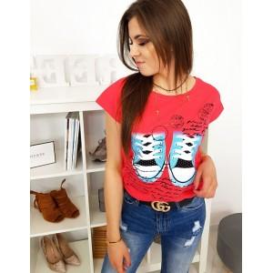 Krásne dámske letné tričko malinovo červené s krátkym rukávom