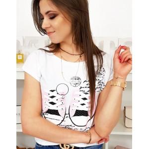 Trendy dámske tričko biele s designovou potlačou tenisiek