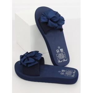 Letné tmavo modré dámske šľapky s ozdobnou saténovou mašľou