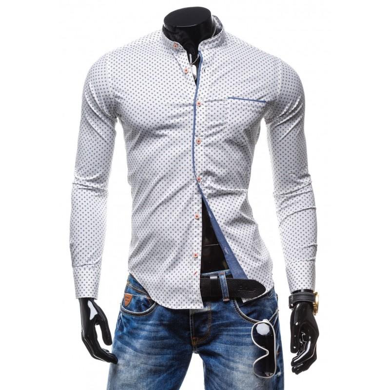 a5b0bb34fe33 Najnovšie módne a trendy pánske košele s krížikovým vzorom v bielej ...
