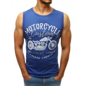 Pánske tričko bez rukávov v modrej farbe