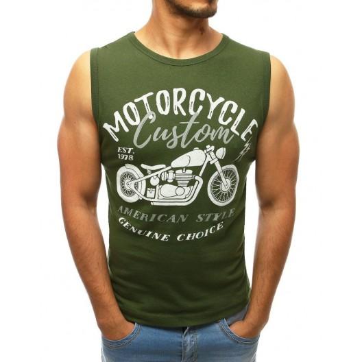 Zelené pánske tričko s krátkym rukávom s potlačou