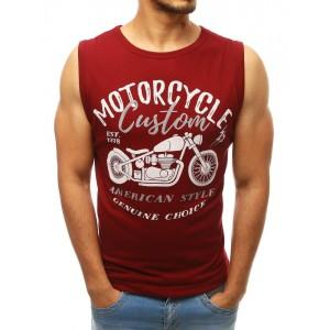 Tričko bez rukávov s potlačou v bordovej farbe