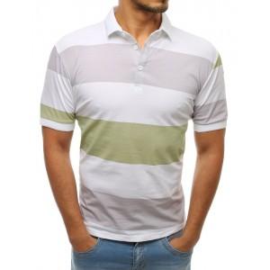Pánske biele polo tričko s krátkym rukávom a pastelovými pruhmi