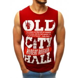 Červené tričko s nápismi pre pánov