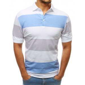 Štýlové pánske pásikované polo tričko bielo modré